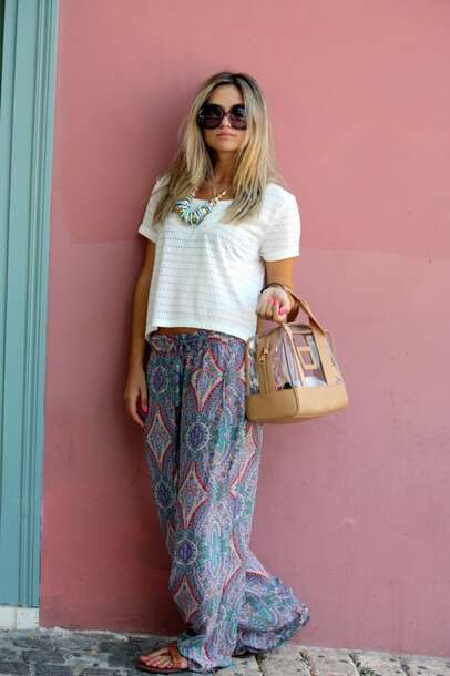 Pants: wide-leg pants, beach, summer pants, casual, casual pants ...