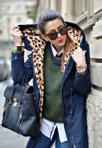 jacket blue parka coat blue parka leopard print parka sunglasses coat navy