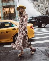 dress,floral dress,midi dress,long sleeve dress,ruffle dress,high heel sandals,shoulder bag,hat