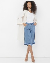 pants,blue,blue culottes,blue pants,culottes,denim culottes