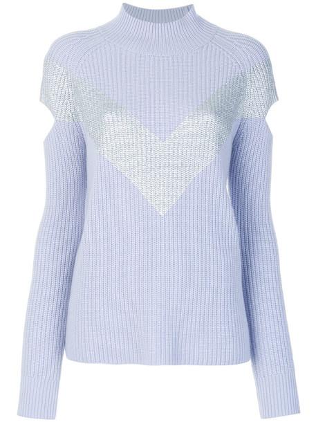 Zoe Jordan jumper cut-out women blue wool sweater