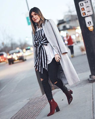 top grey coat red boots tube top stripes striped top crop tops coat jeans black jeans boots