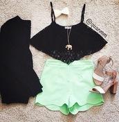 tank top,lack,black,fashion,lace,neon,green,mint,vintage,shorts,jewels