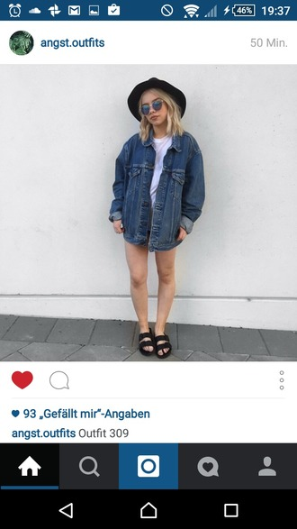 jacket denim jacket oversized denim jacket black sandals hat