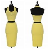 skirt,crop tops,2 piece skirt set,halter top,cropped halter top,set,yellow