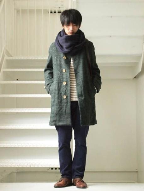 Coat Wool Mori Kei Jacket Green Buttons Parka Clothes Comfy Parka Japanese Japanese