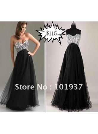 Discount real sample custom made sweetheart backless evening gown  beaded black chiffon name brand prom dresses ls113 on sale at weddingdressyes.com