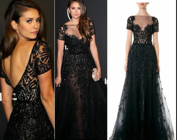 golden globes 2015 after party nina dobrev clutch zuhair murad black long dresses black dress long dress