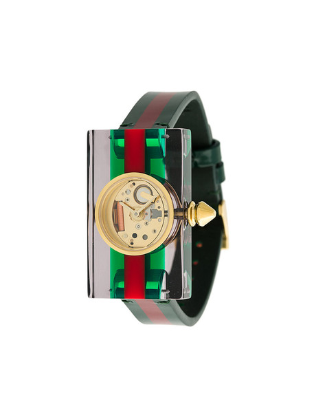 Gucci - Vintage Web watch - women - Leather/Plastic/stainless steel - One Size, Green