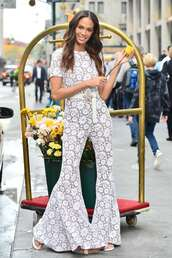 jumpsuit,lace,pants,joan smalls,celebrity,model