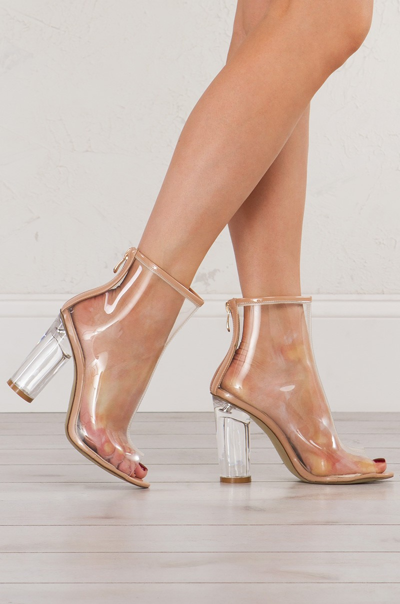 Cape Robbin Transparent Peep Toe Booties With Cylindrical Lucite ...