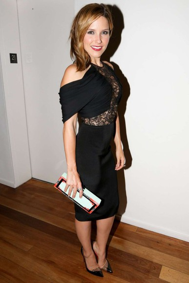 sophia bush dress little black dress fashion week 2014