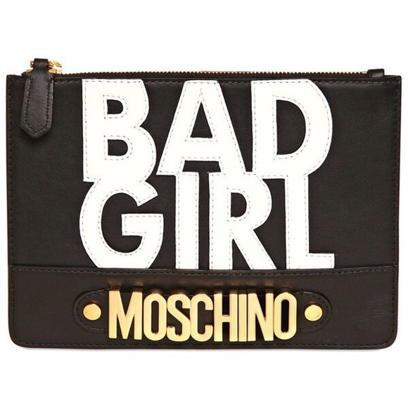 bag printed bag handbag print moschino bad girl clutch leather accessories black bag cluch