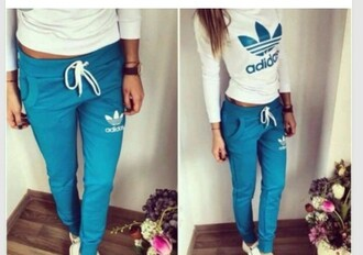 jumpsuit blue sweatpants adidas outfit sporty white adidas shirt addidas pants