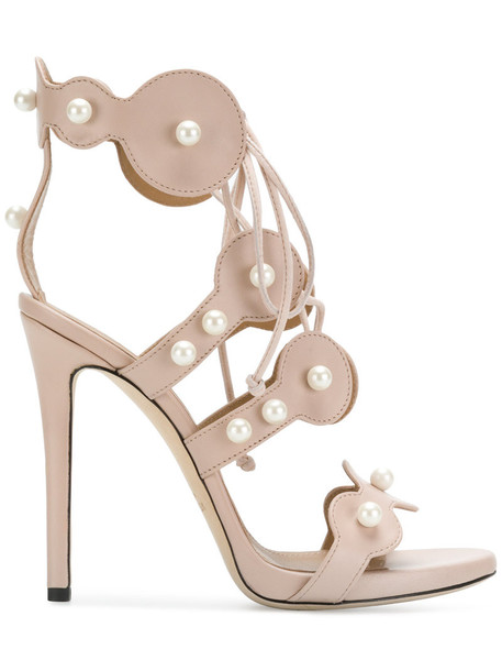 Marc Ellis embellished sandals women pearl embellished sandals leather nude shoes