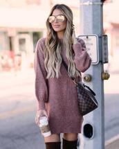 dress,tumblr,sweater dress,mini dress,knit,knitted dress,fall outfits,fall dress,sunglasses