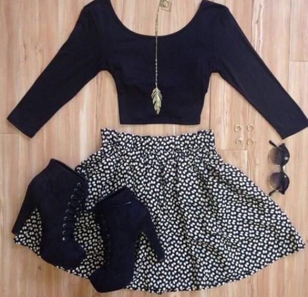 skirt black white floral skirt shoes