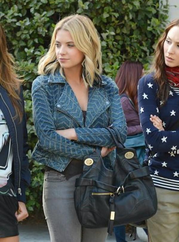 jacket ashley benson blue jacket grey jeans denim bag black bag top black top celebrity style celebrity actress