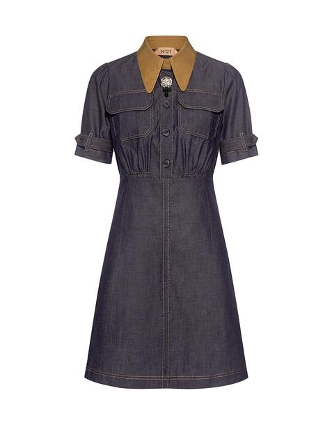 No.21 dress shirt dress denim mini embellished embellished denim