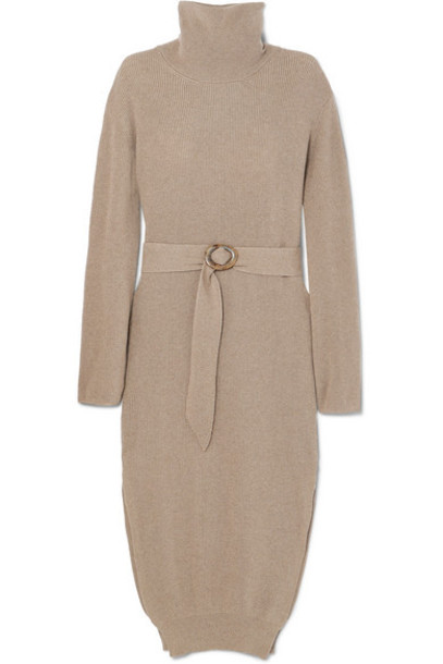 Nanushka - Belted Ribbed-knit Turtleneck Midi Dress - Neutral