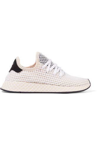 mesh sneakers white suede shoes