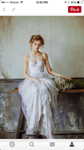 dress, wedding dress, hipster wedding, country wedding, white dress ...