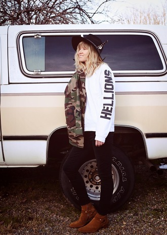 what is reality anyway? blogger hat camo jacket white sweater sweater jeans shoes jacket