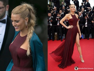 dress burgundy dress blake lively dress 2014 prom dresses