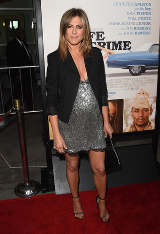 sparkly dress silver jennifer aniston dress sandals shoes sequin dress