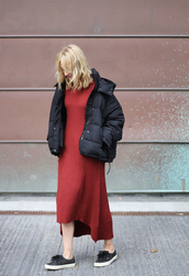 jacket,tumblr,puffed jacket,black jacket,quilted,asymmetrical,asymmetrical dress,midi dress,red dress,slip on shoes,black shoes,fall outfits,puffer jacket,hooded jacket
