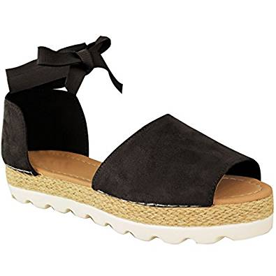 Amazon.com | Fashion Thirsty Womens Flat Lace Up Sandals Espadrilles Summer Chunky Holiday Shoes Size | Flats