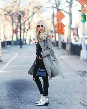 shoes tumblr silver shoes silver ankle boots ankle boots mid heel boots pointed boots denim jeans black jeans black ripped jeans ripped jeans sweater black sweater coat grey coat bag mini bag black bag winter outfits winter look streetstyle winter coat sunglasses pointed toe boots cold weather outfit