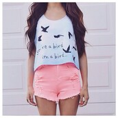top,birds,blue shirt,quote on it,love quotes