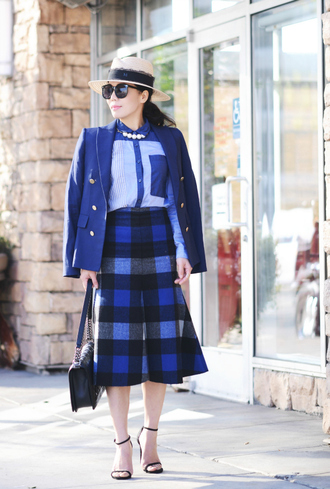 hallie daily blogger gingham blue shirt blue jacket sandals jewels sunglasses bag shoes