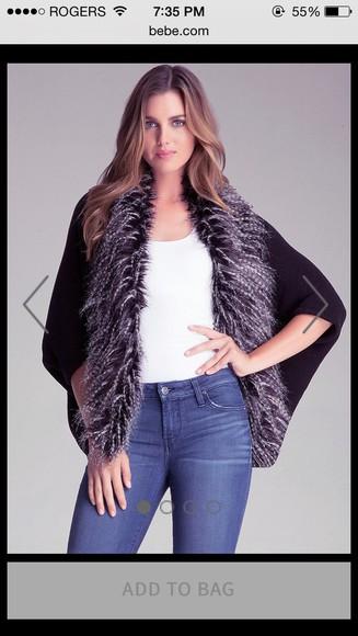 chic style black fashion cardigan fur coat fur vest faux fur fur jacket vest