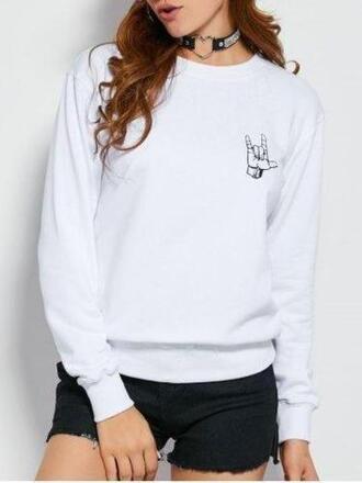 sweater zaful white grunge choker necklace white sweater fashion grunge wishlist hipster girly autumn/winter fall outfits
