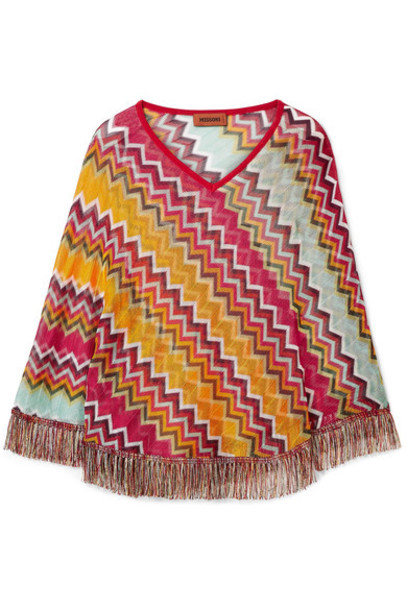 Missoni poncho knit crochet orange top