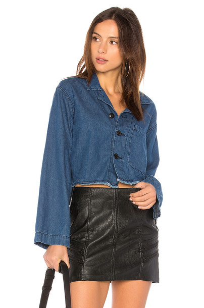 The Great jacket cropped blue