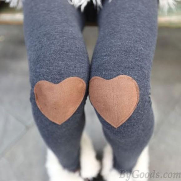 hearts leggings knee patch grey