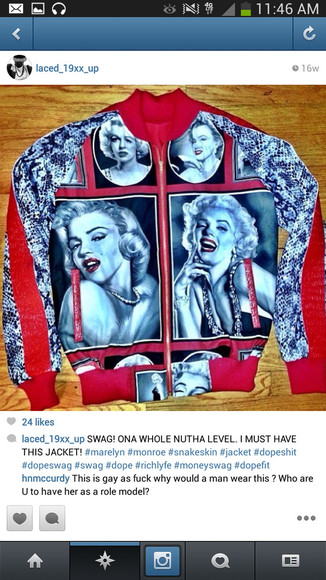 marilyn monroe red jacket reptile skin red jacket