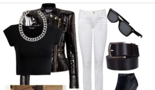 jacket leather jacket necklace shirt accessories jewels jeans