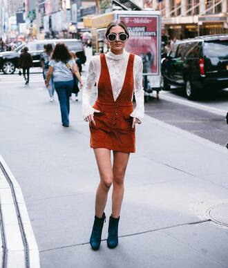 skirt mini skirt rust suede suede skirt boots black boots ankle boots top see through see through top sunglasses