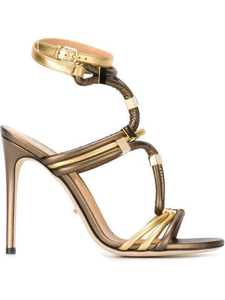Sergio Rossi metal strappy sandals strappy sandals metallic shoes