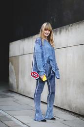 top,london fashion week 2017,fashion week 2017,fashion week,streetstyle,denim,denim top,pants,flare pants,stripes,striped pants,blue pants,bag,mini bag