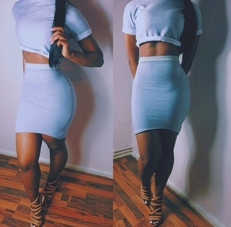 skirt grey jersey knit fitt skirt high waist skirts top crop rolled up rolled cuffs cotton two-piece