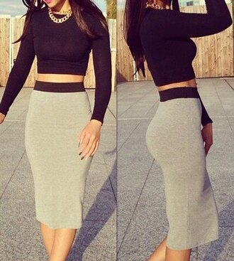 skirt crop tops long sleeve black grey pencil skirt