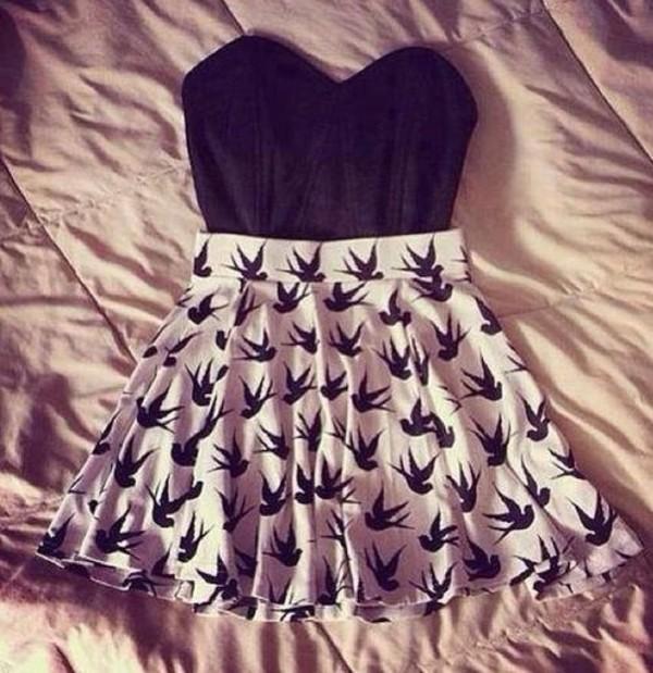 dress swalow birds nude black