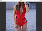 swimwear,red zipper bathing suit