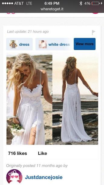 dress white dress white maxi dress beach wedding dress beach dress boho dress bohemian boho chic boho wedding dress wedding beach low back straps lace lace dress