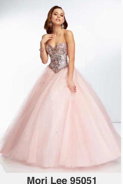 dress prom dress pink dress gold sequins